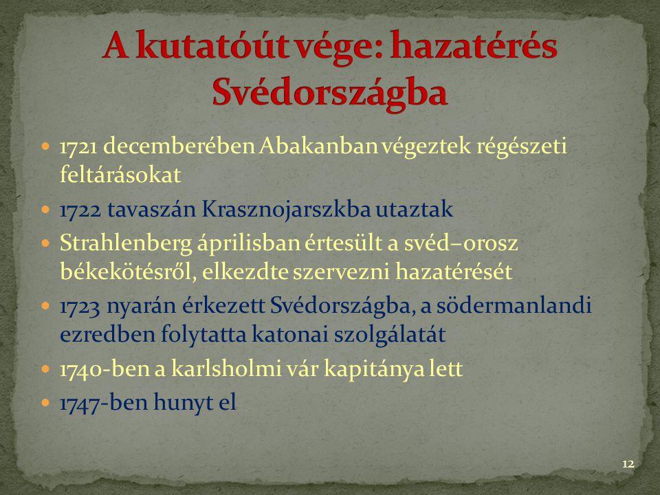 1721 decemberében Abakanban végeztek régészeti feltárásokat 1722 tavaszán Krasznojarszkba utaztak Strahlenberg áprilisban értesült a svéd–orosz békekötésről, elkezdte szervezni hazatérését 1723 nyarán érkezett Svédországba, a södermanlandi ezredben folytatta katonai szolgálatát 1740-ben a karlsholmi vár kapitánya lett 1747-ben hunyt el 12