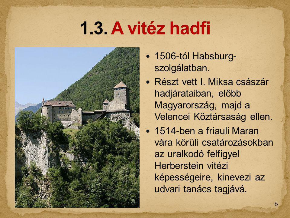 1506-tól Habsburg- szolgálatban. Részt vett I. Miksa császár hadjárataiban, előbb Magyarország, majd a Velencei Köztársaság ellen. 1514-ben a friauli