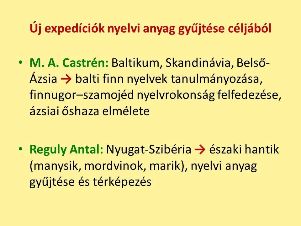Új expedíciók nyelvi anyag gyűjtése céljából M.A.