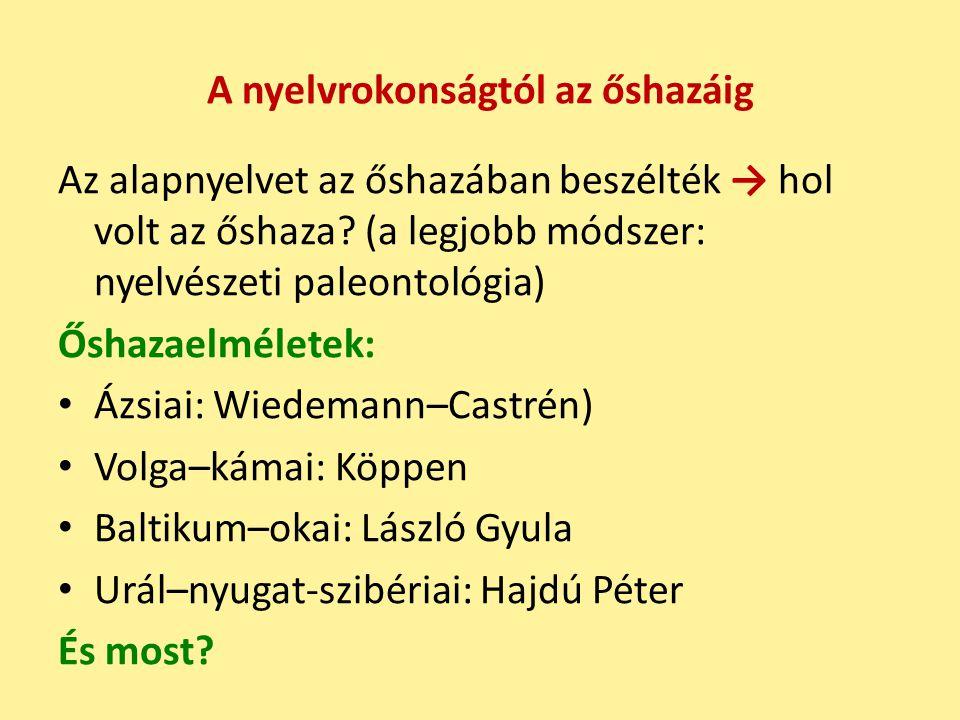 A nyelvrokonságtól az őshazáig Az alapnyelvet az őshazában beszélték → hol volt az őshaza.