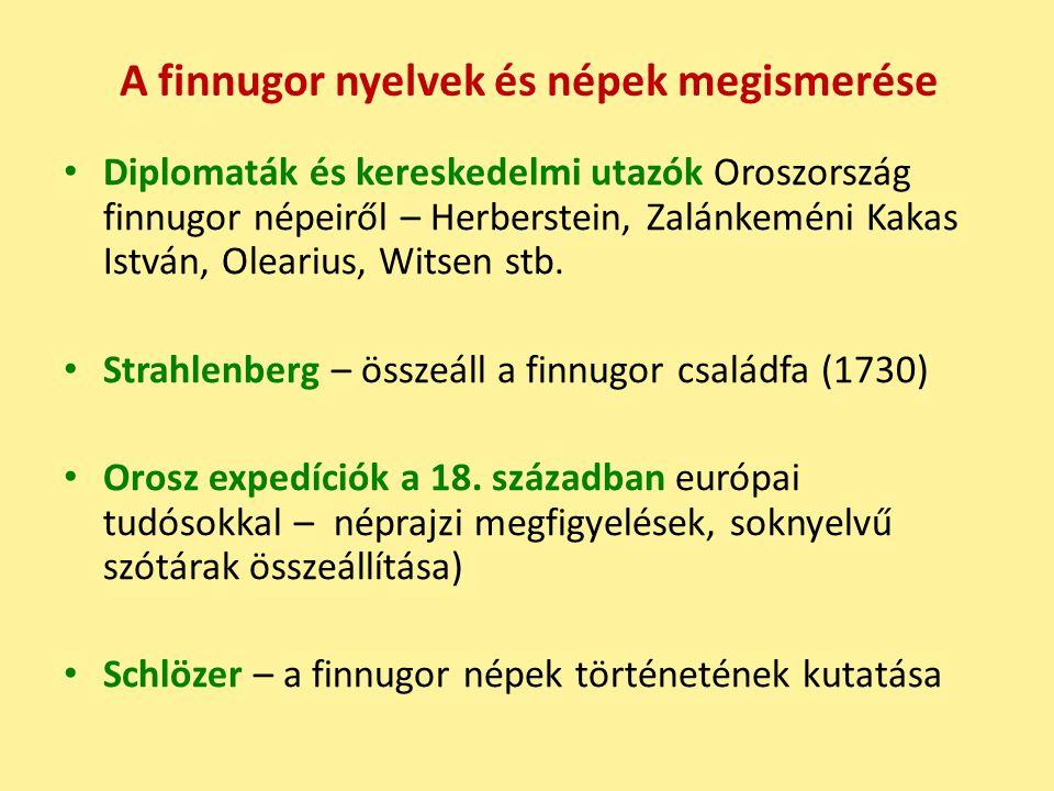 A finnugor nyelvek és népek megismerése Diplomaták és kereskedelmi utazók Oroszország finnugor népeiről – Herberstein, Zalánkeméni Kakas István, Olearius, Witsen stb.