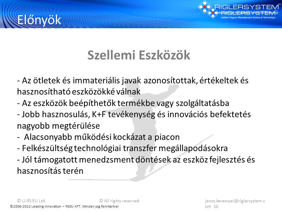©2006-2012 Leading Innovation – RSEU KFT. Minden jog fenntartva! Előnyök - Az ötletek és immateriális javak azonosítottak, értékeltek és hasznosítható