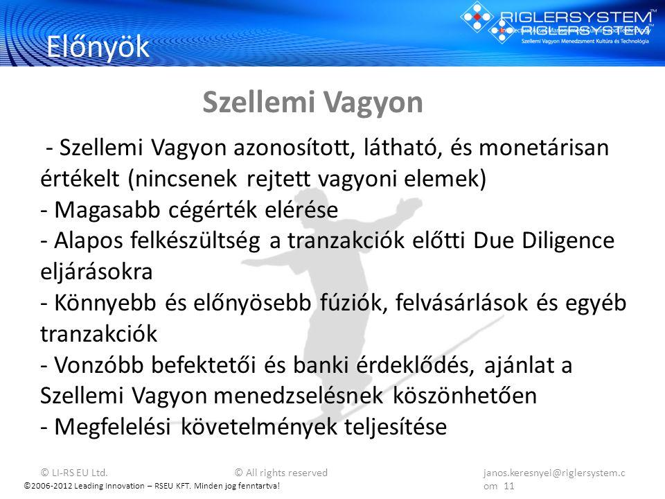 ©2006-2012 Leading Innovation – RSEU KFT. Minden jog fenntartva! Előnyök - Szellemi Vagyon azonosított, látható, és monetárisan értékelt (nincsenek re