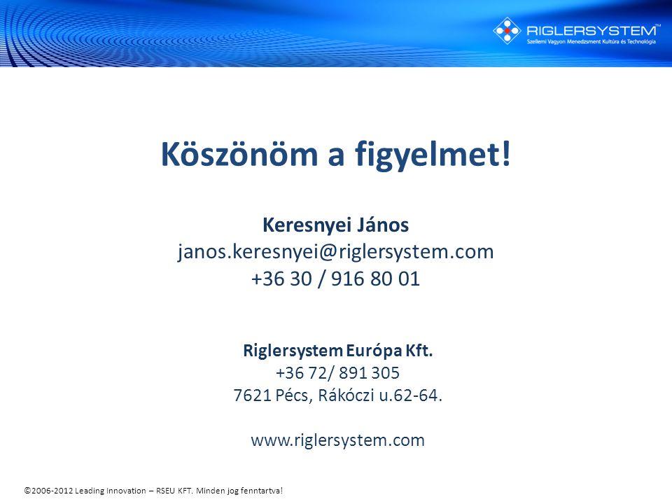 ©2006-2012 Leading Innovation – RSEU KFT. Minden jog fenntartva! Riglersystem Európa Kft. +36 72/ 891 305 7621 Pécs, Rákóczi u.62-64. www.riglersystem