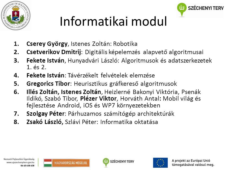 Informatikai modul 1.Cserey György, Istenes Zoltán: Robotika 2.Csetverikov Dmitrij: Digitális képelemzés alapvető algoritmusai 3.Fekete István, Hunyad