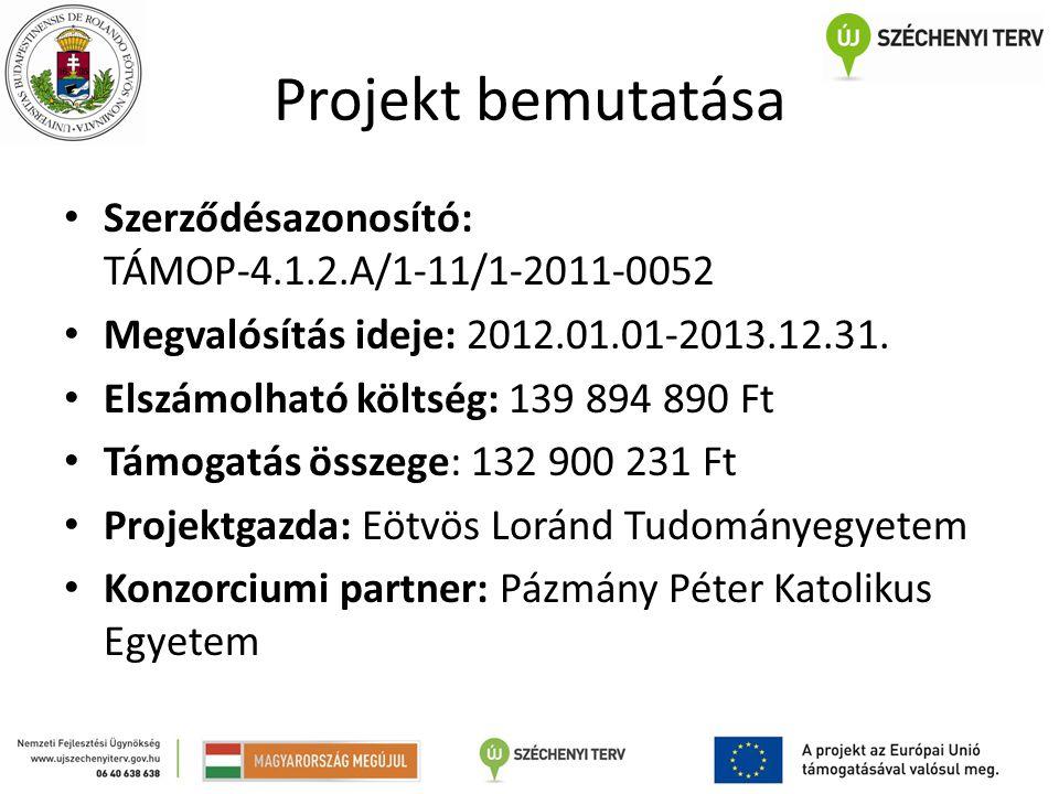 Projekt bemutatása Szerződésazonosító: TÁMOP-4.1.2.A/1-11/1-2011-0052 Megvalósítás ideje: 2012.01.01-2013.12.31. Elszámolható költség: 139 894 890 Ft
