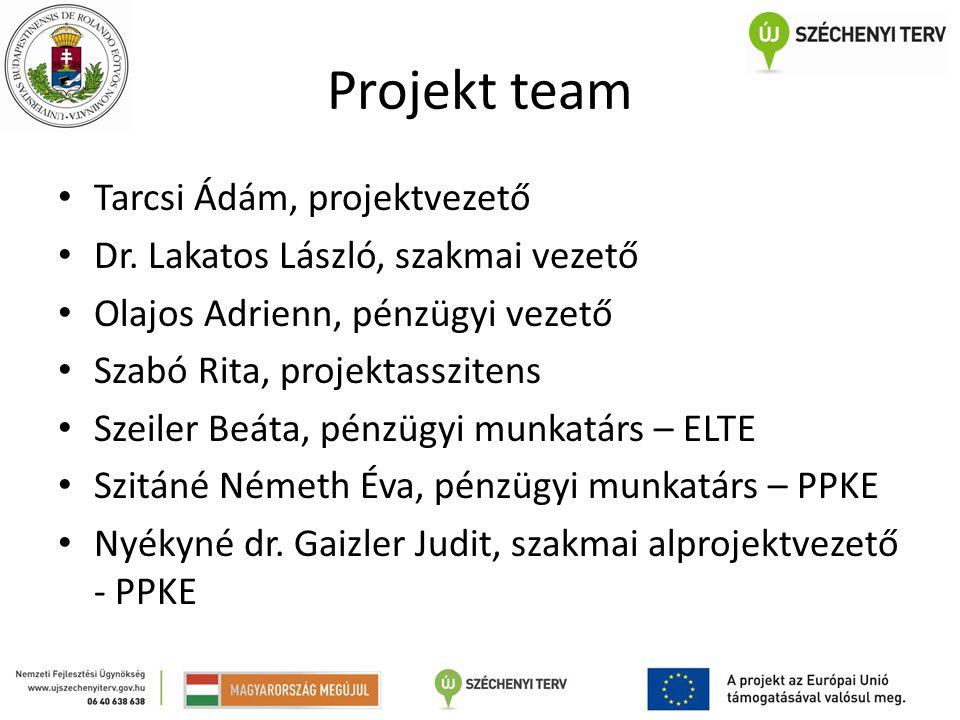 Projekt team Tarcsi Ádám, projektvezető Dr.