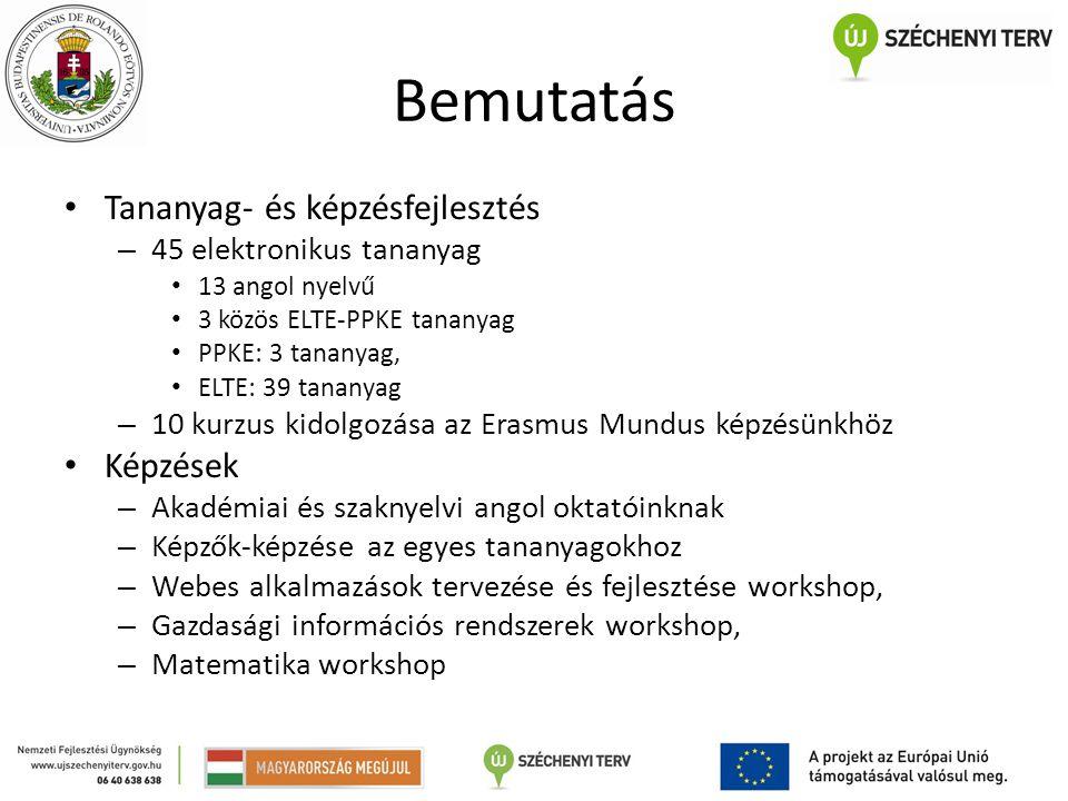 Bemutatás Tananyag- és képzésfejlesztés – 45 elektronikus tananyag 13 angol nyelvű 3 közös ELTE-PPKE tananyag PPKE: 3 tananyag, ELTE: 39 tananyag – 10 kurzus kidolgozása az Erasmus Mundus képzésünkhöz Képzések – Akadémiai és szaknyelvi angol oktatóinknak – Képzők-képzése az egyes tananyagokhoz – Webes alkalmazások tervezése és fejlesztése workshop, – Gazdasági információs rendszerek workshop, – Matematika workshop