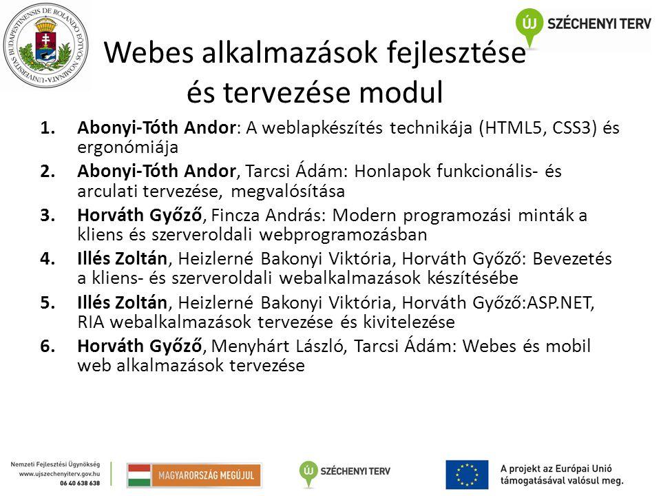Webes alkalmazások fejlesztése és tervezése modul 1.Abonyi-Tóth Andor: A weblapkészítés technikája (HTML5, CSS3) és ergonómiája 2.Abonyi-Tóth Andor, T