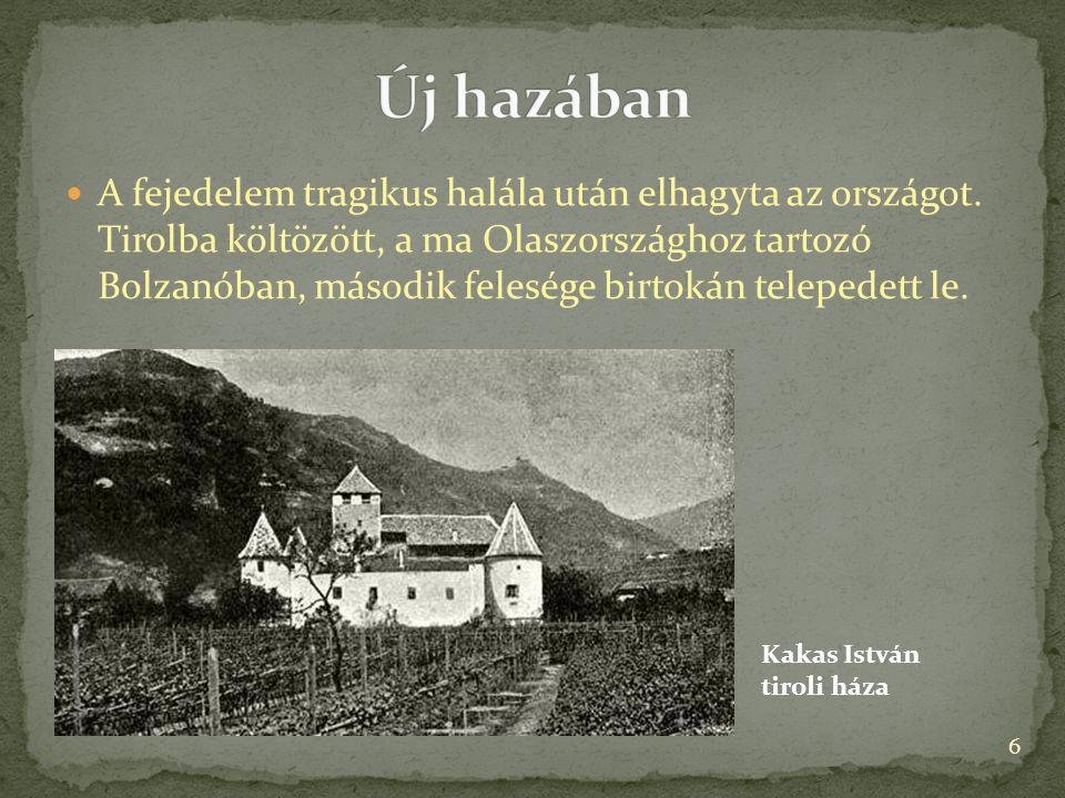 A fejedelem tragikus halála után elhagyta az országot. Tirolba költözött, a ma Olaszországhoz tartozó Bolzanóban, második felesége birtokán telepedett