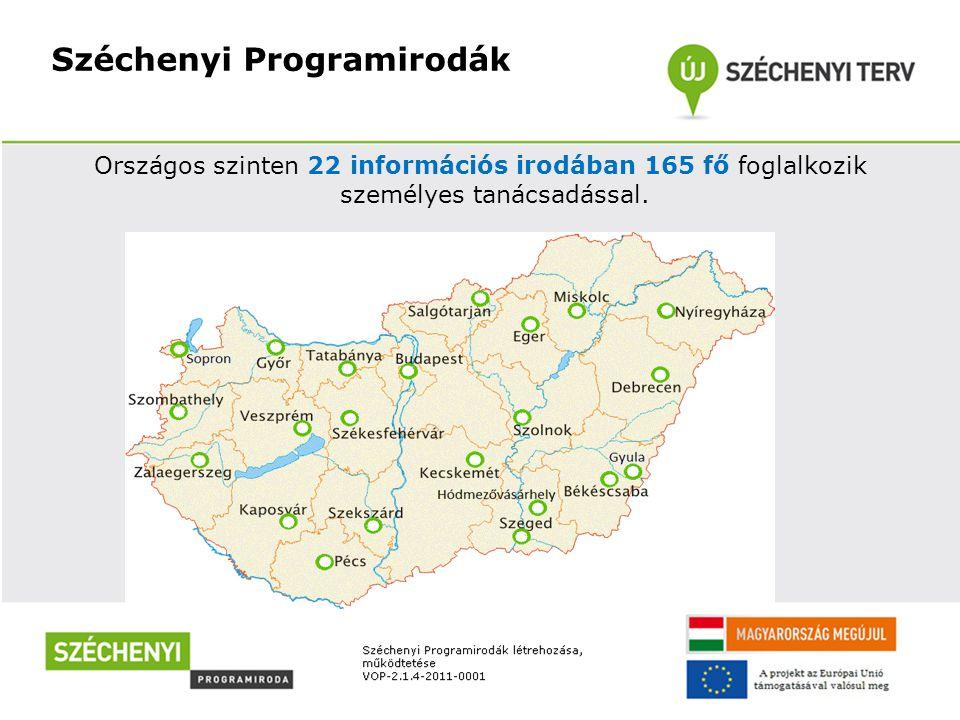 Országos szinten 22 információs irodában 165 fő foglalkozik személyes tanácsadással.