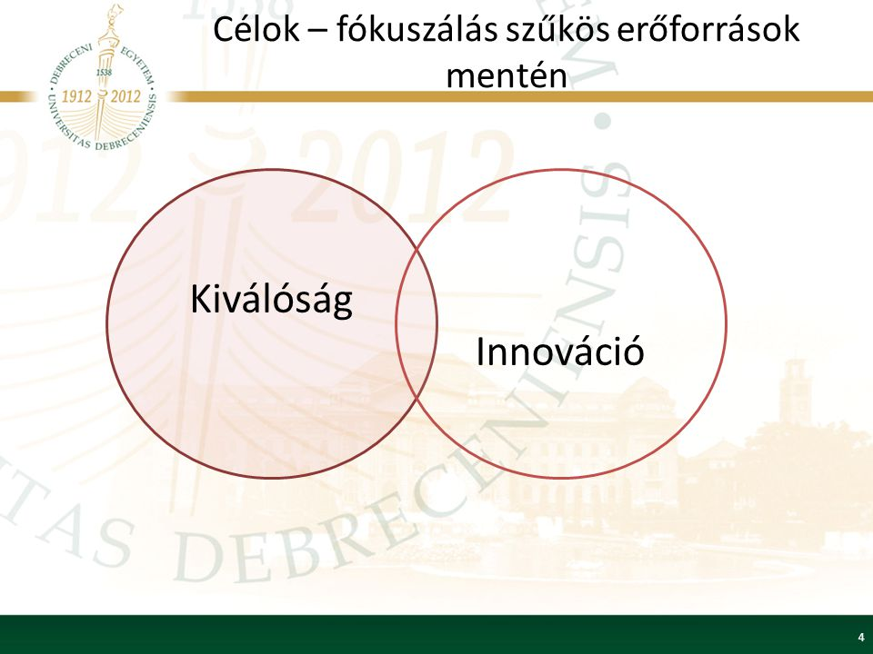 Célok – fókuszálás szűkös erőforrások mentén 4 Kiválóság Innováció