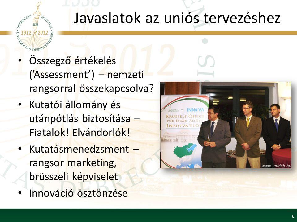 Javaslatok az uniós tervezéshez Összegző értékelés ('Assessment') – nemzeti rangsorral összekapcsolva.