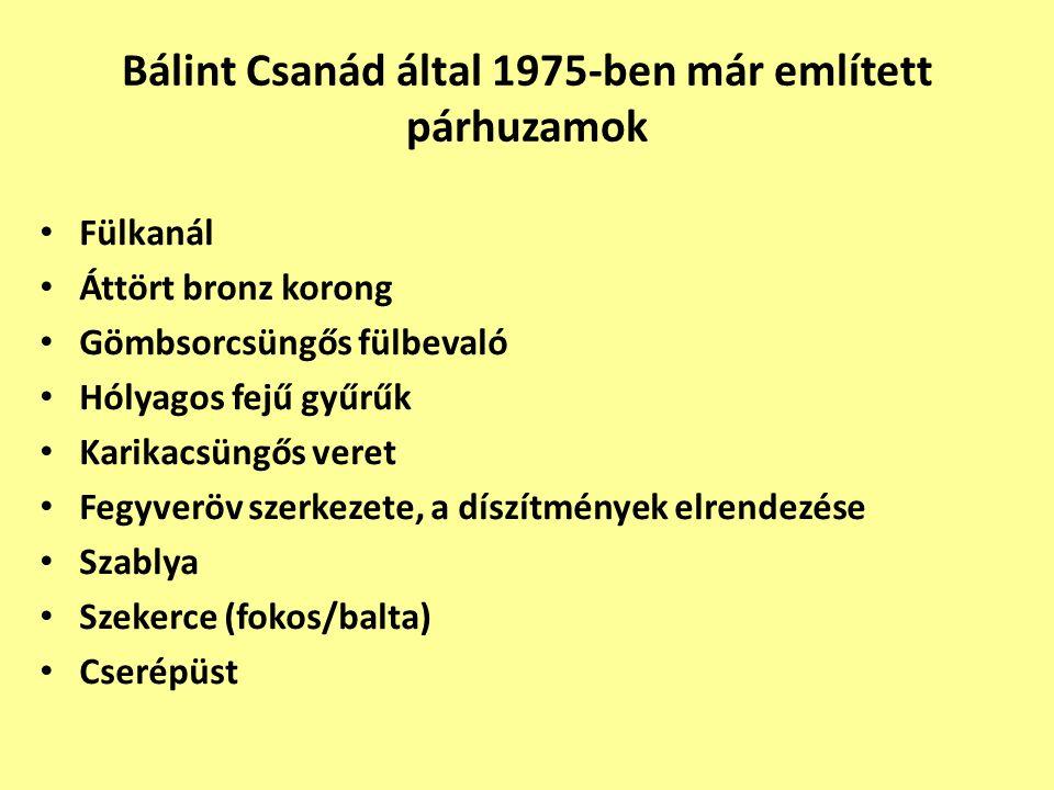 Bálint Csanád által 1975-ben már említett párhuzamok Fülkanál Áttört bronz korong Gömbsorcsüngős fülbevaló Hólyagos fejű gyűrűk Karikacsüngős veret Fe