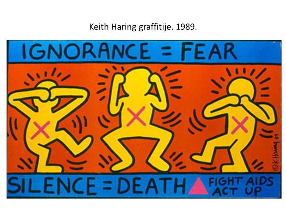 Keith Haring graffitije. 1989.
