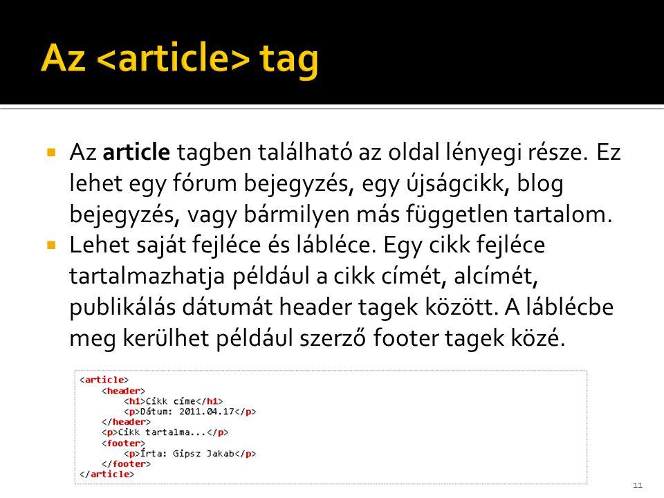  Az article tagben található az oldal lényegi része. Ez lehet egy fórum bejegyzés, egy újságcikk, blog bejegyzés, vagy bármilyen más független tartal