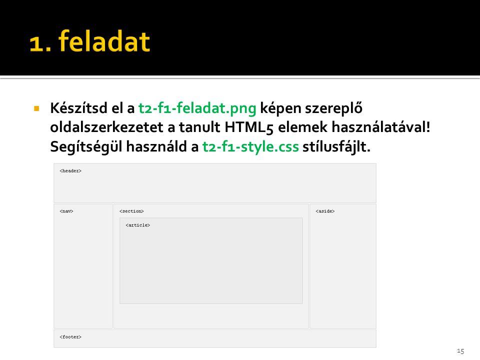  Készítsd el a t2-f1-feladat.png képen szereplő oldalszerkezetet a tanult HTML5 elemek használatával! Segítségül használd a t2-f1-style.css stílusfáj