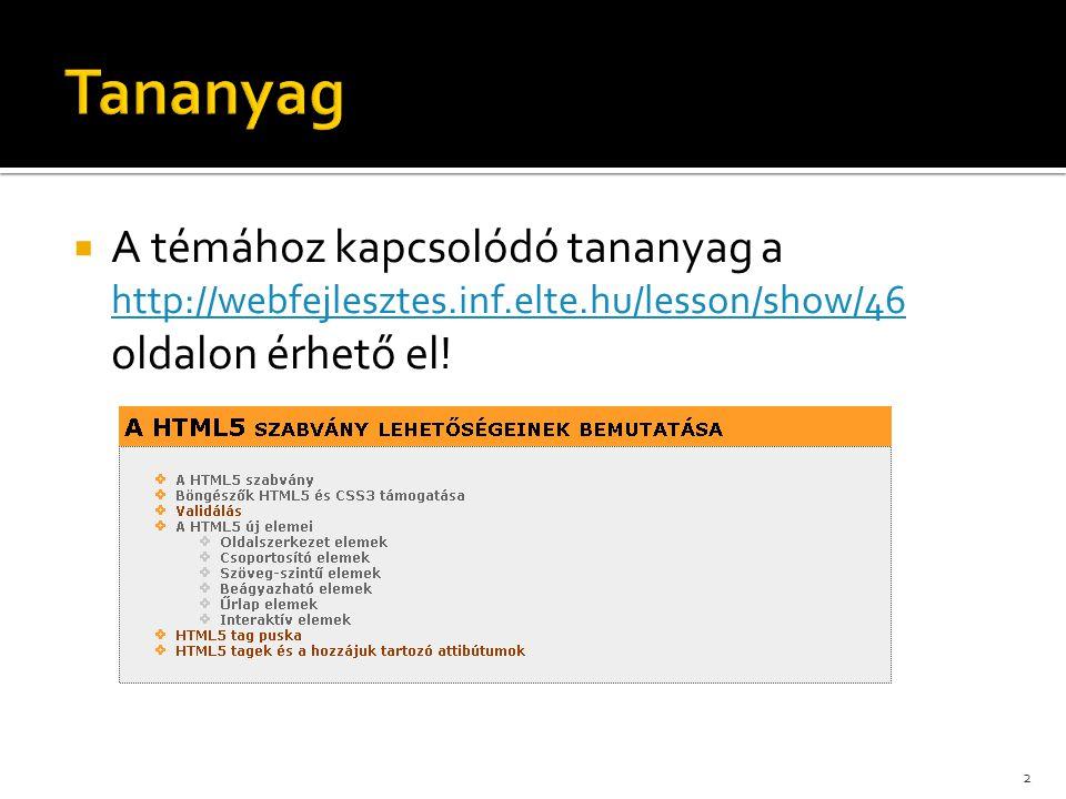  A témához kapcsolódó tananyag a http://webfejlesztes.inf.elte.hu/lesson/show/46 oldalon érhető el! http://webfejlesztes.inf.elte.hu/lesson/show/46 2