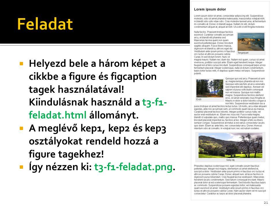  Helyezd bele a három képet a cikkbe a figure és figcaption tagek használatával! Kiindulásnak használd a t3-f1- feladat.html állományt.  A meglévő k