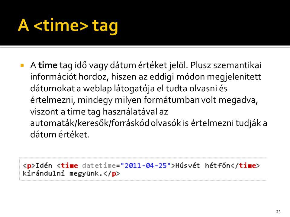  A time tag idő vagy dátum értéket jelöl. Plusz szemantikai információt hordoz, hiszen az eddigi módon megjelenített dátumokat a weblap látogatója el
