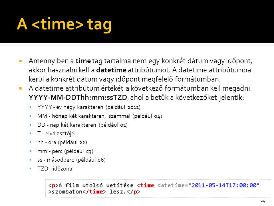  Amennyiben a time tag tartalma nem egy konkrét dátum vagy időpont, akkor használni kell a datetime attribútumot. A datetime attribútumba kerül a kon