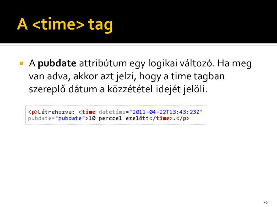  A pubdate attribútum egy logikai változó. Ha meg van adva, akkor azt jelzi, hogy a time tagban szereplő dátum a közzététel idejét jelöli. 25