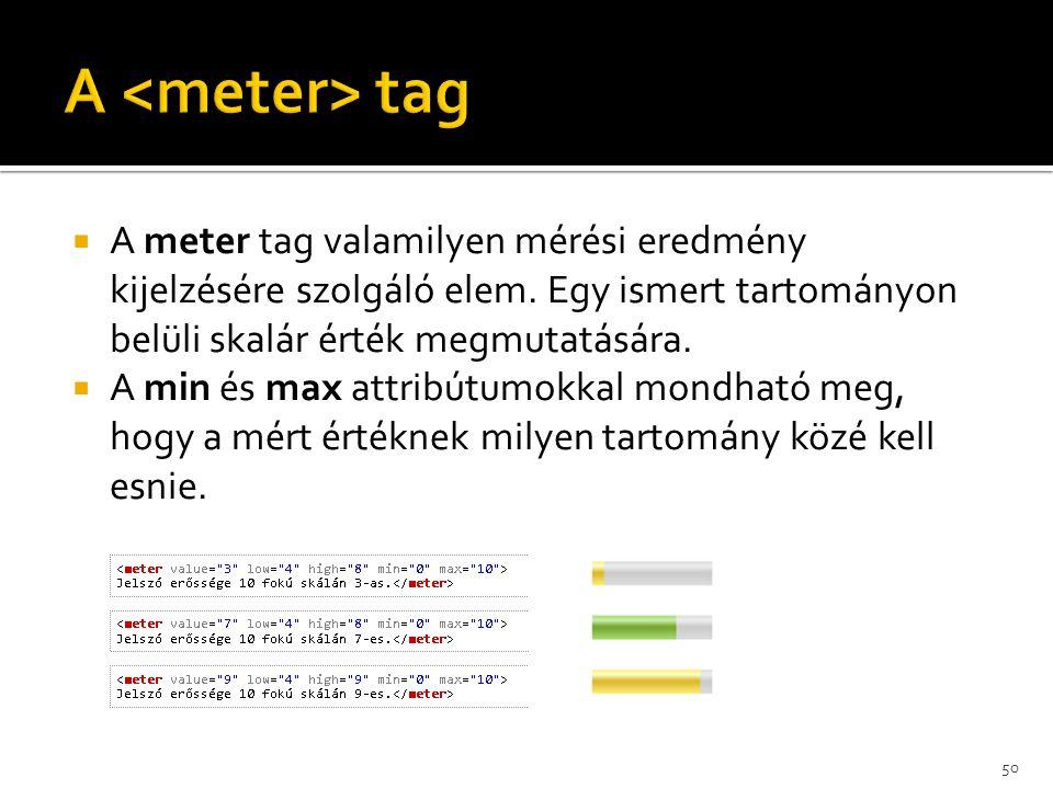  A meter tag valamilyen mérési eredmény kijelzésére szolgáló elem. Egy ismert tartományon belüli skalár érték megmutatására.  A min és max attribútu