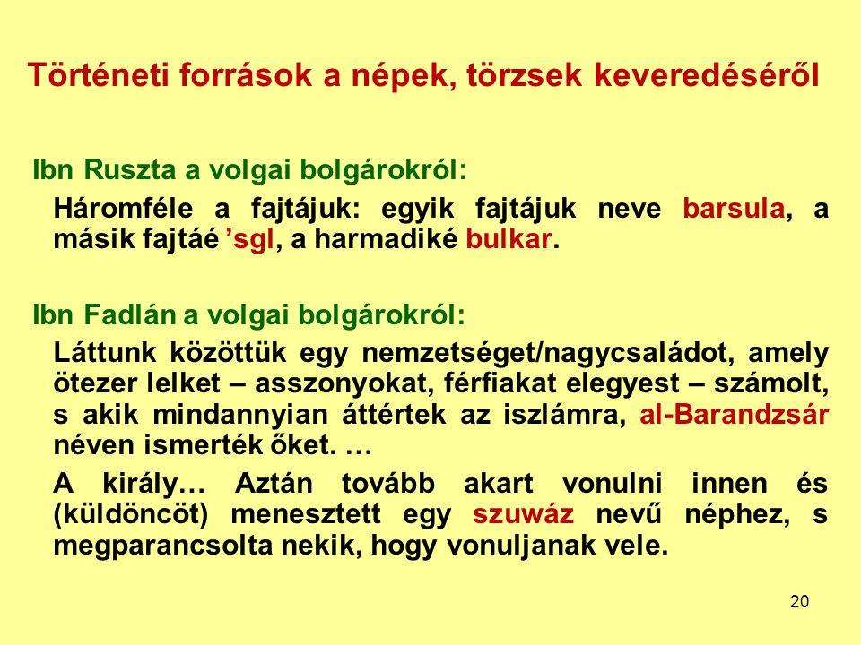 Történeti források a népek, törzsek keveredéséről Ibn Ruszta a volgai bolgárokról: Háromféle a fajtájuk: egyik fajtájuk neve barsula, a másik fajtáé '