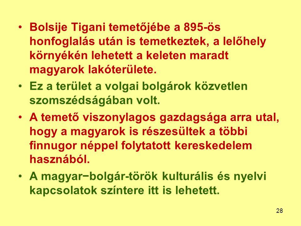 Bolsije Tigani temetőjébe a 895-ös honfoglalás után is temetkeztek, a lelőhely környékén lehetett a keleten maradt magyarok lakóterülete. Ez a terület
