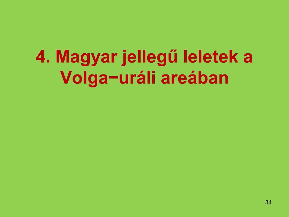 4. Magyar jellegű leletek a Volga−uráli areában 34