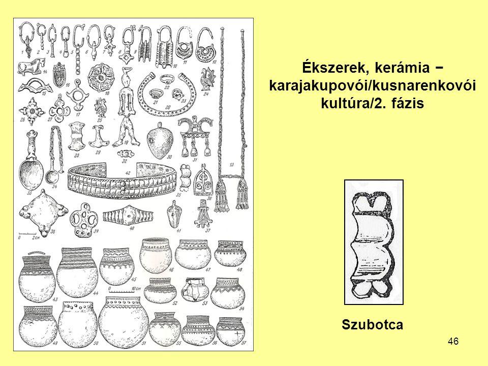 Ékszerek, kerámia − karajakupovói/kusnarenkovói kultúra/2. fázis Szubotca 46