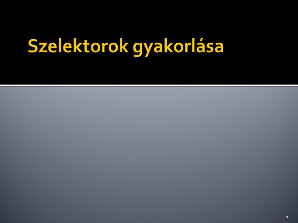 rgba(vörös[0-255],zöld[0-255], kék[0-255],átlátszóság[0-1]) body { background-image:url( bgimage.gif ); } div { background-color:rgba(255, 255, 255, 0.8); width:600px; padding:10px; } Példakód: