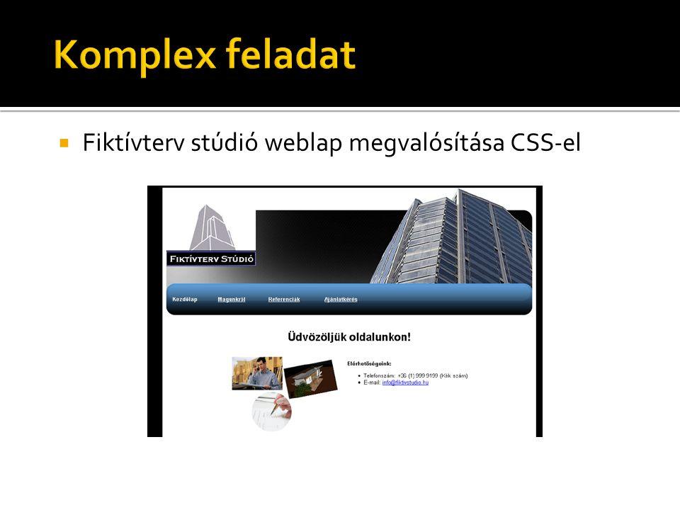  Fiktívterv stúdió weblap megvalósítása CSS-el