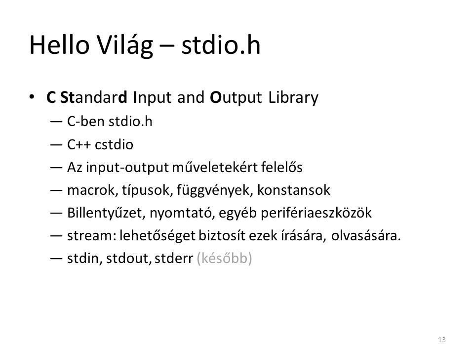 Hello Világ – stdio.h C Standard Input and Output Library ―C-ben stdio.h ―C++ cstdio ―Az input-output műveletekért felelős ―macrok, típusok, függvénye