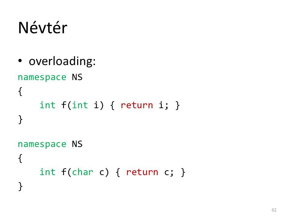 Névtér overloading: namespace NS { int f(int i) { return i; } } namespace NS { int f(char c) { return c; } } 62