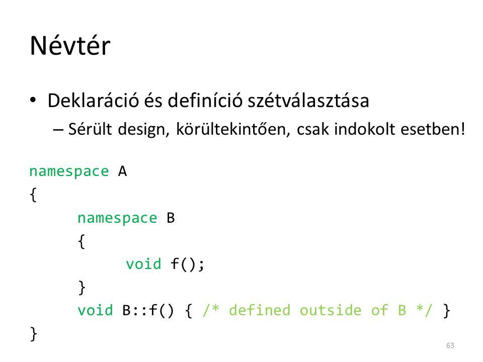 Névtér Deklaráció és definíció szétválasztása – Sérült design, körültekintően, csak indokolt esetben! namespace A { namespace B { void f(); } void B::