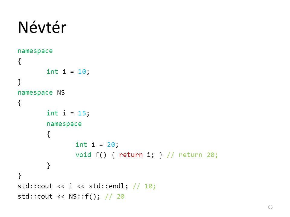 Névtér namespace { int i = 10; } namespace NS { int i = 15; namespace { int i = 20; void f() { return i; } // return 20; } std::cout << i << std::endl