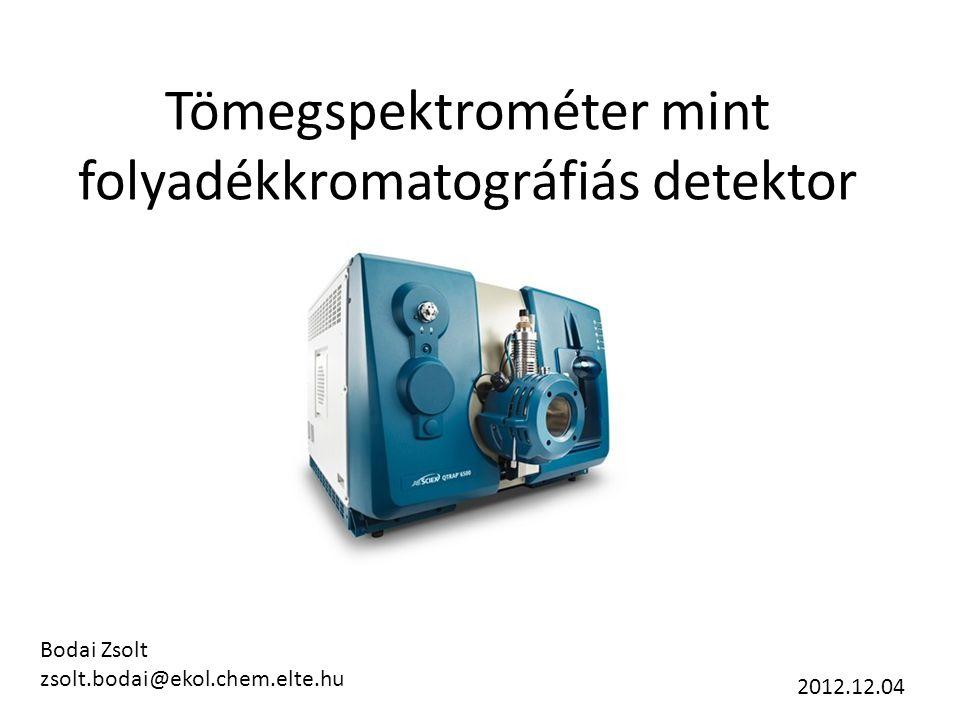 Tömegspektrométer mint folyadékkromatográfiás detektor Bodai Zsolt zsolt.bodai@ekol.chem.elte.hu 2012.12.04