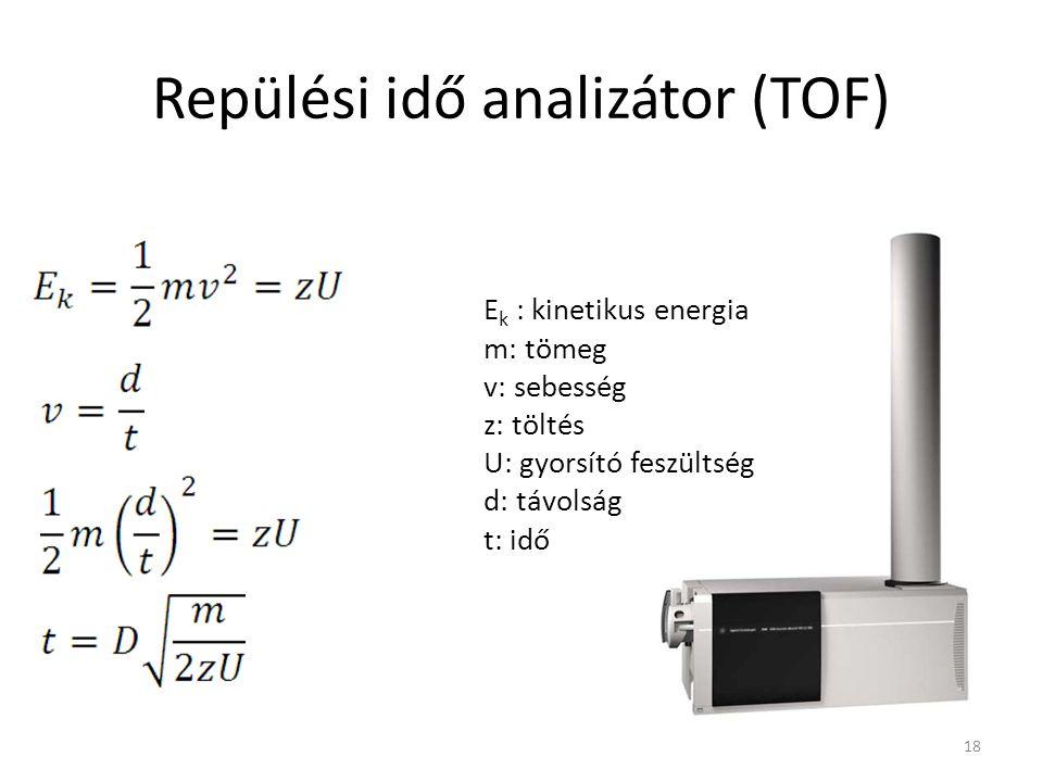Repülési idő analizátor (TOF) E k : kinetikus energia m: tömeg v: sebesség z: töltés U: gyorsító feszültség d: távolság t: idő 18