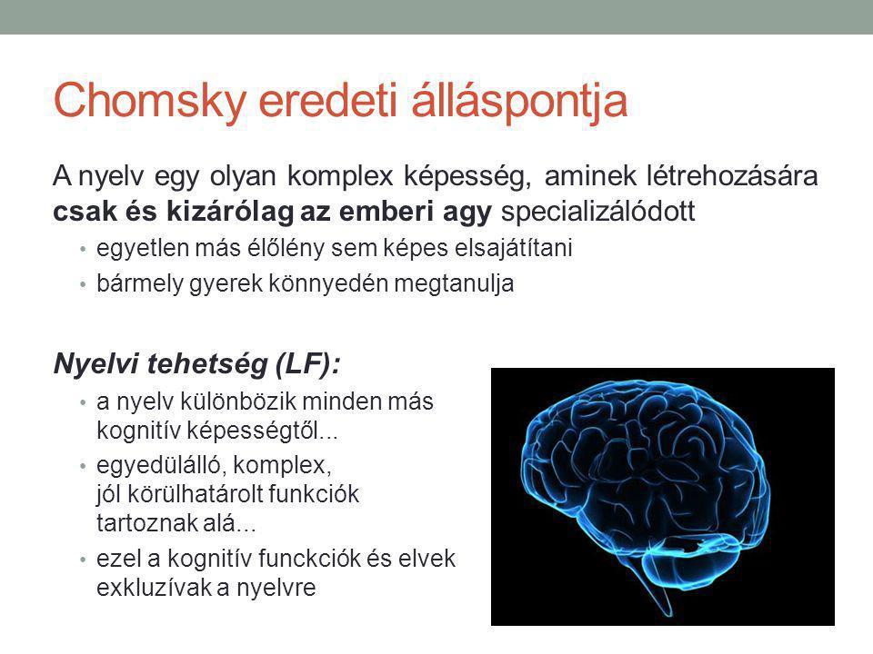 Chomsky eredeti álláspontja A nyelv egy olyan komplex képesség, aminek létrehozására csak és kizárólag az emberi agy specializálódott egyetlen más élőlény sem képes elsajátítani bármely gyerek könnyedén megtanulja Nyelvi tehetség (LF): a nyelv különbözik minden más kognitív képességtől...
