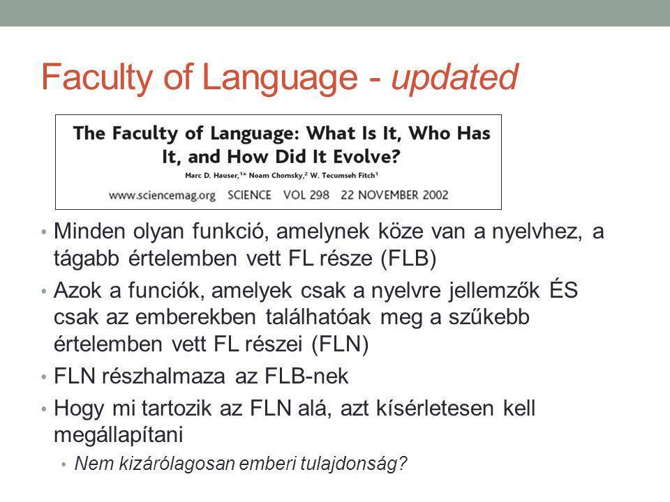 Faculty of Language - updated Minden olyan funkció, amelynek köze van a nyelvhez, a tágabb értelemben vett FL része (FLB) Azok a funciók, amelyek csak a nyelvre jellemzők ÉS csak az emberekben találhatóak meg a szűkebb értelemben vett FL részei (FLN) FLN részhalmaza az FLB-nek Hogy mi tartozik az FLN alá, azt kísérletesen kell megállapítani Nem kizárólagosan emberi tulajdonság