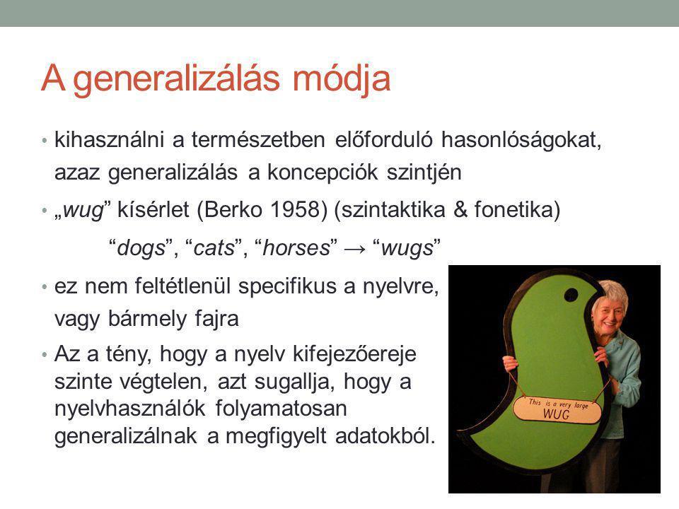 """A generalizálás módja kihasználni a természetben előforduló hasonlóságokat, azaz generalizálás a koncepciók szintjén """"wug kísérlet (Berko 1958) (szintaktika & fonetika) dogs , cats , horses → wugs ez nem feltétlenül specifikus a nyelvre, vagy bármely fajra Az a tény, hogy a nyelv kifejezőereje szinte végtelen, azt sugallja, hogy a nyelvhasználók folyamatosan generalizálnak a megfigyelt adatokból."""