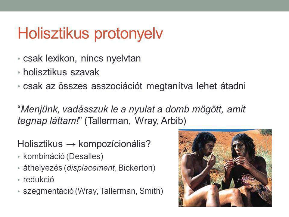 Holisztikus protonyelv csak lexikon, nincs nyelvtan holisztikus szavak csak az összes asszociációt megtanítva lehet átadni Menjünk, vadásszuk le a nyulat a domb mögött, amit tegnap láttam! (Tallerman, Wray, Arbib) Holisztikus → kompozícionális.