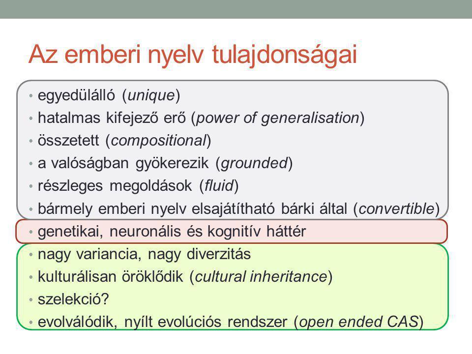 Az emberi nyelv tulajdonságai egyedülálló (unique) hatalmas kifejező erő (power of generalisation) összetett (compositional) a valóságban gyökerezik (grounded) részleges megoldások (fluid) bármely emberi nyelv elsajátítható bárki által (convertible) genetikai, neuronális és kognitív háttér nagy variancia, nagy diverzitás kulturálisan öröklődik (cultural inheritance) szelekció.