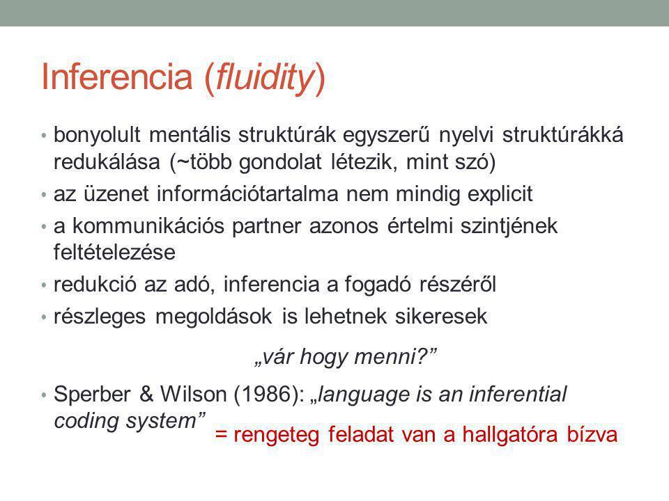 """Inferencia (fluidity) bonyolult mentális struktúrák egyszerű nyelvi struktúrákká redukálása (~több gondolat létezik, mint szó) az üzenet információtartalma nem mindig explicit a kommunikációs partner azonos értelmi szintjének feltételezése redukció az adó, inferencia a fogadó részéről részleges megoldások is lehetnek sikeresek """"vár hogy menni Sperber & Wilson (1986): """"language is an inferential coding system = rengeteg feladat van a hallgatóra bízva"""