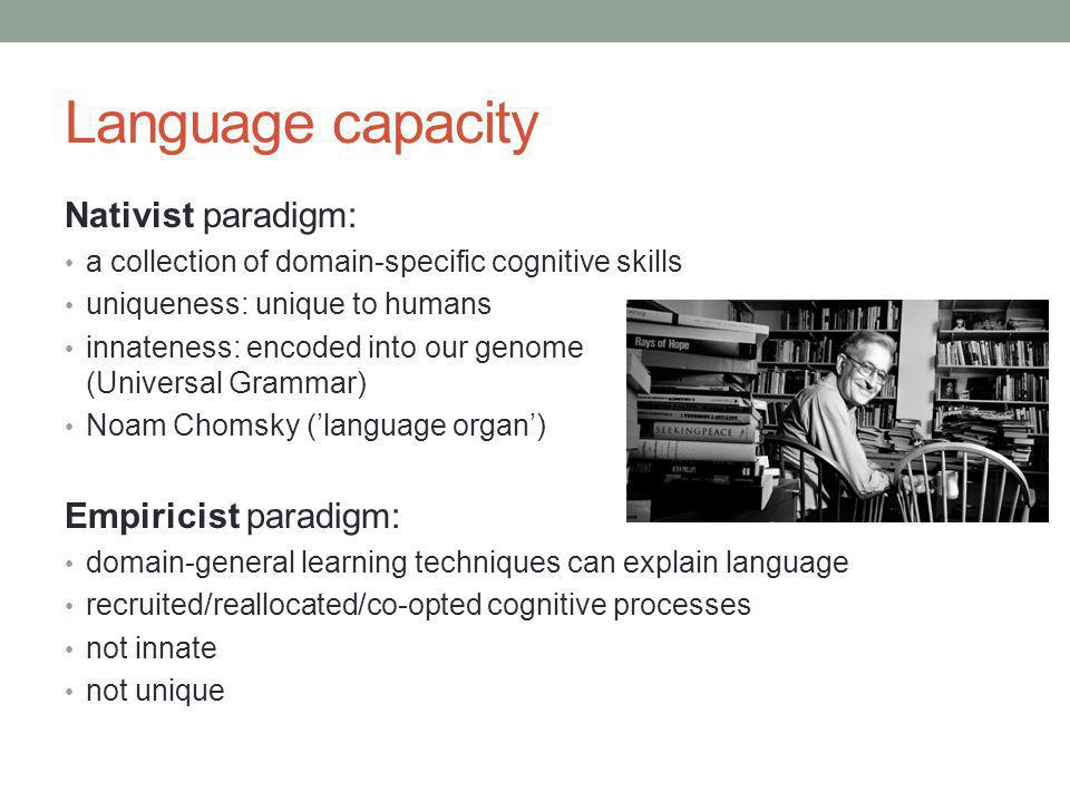 Language capacity Nativist paradigm: a collection of domain-specific cognitive skills uniqueness: unique to humans innateness: encoded into our genome