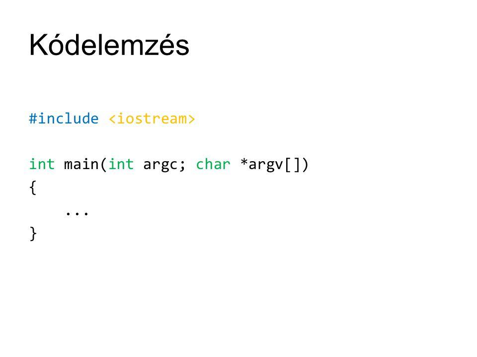 Kódelemzés #include int main(int argc; char *argv[]) {... }