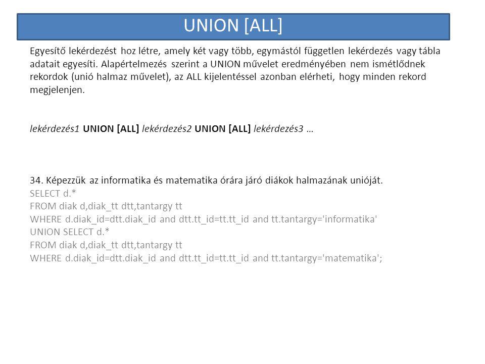 UNION [ALL] Egyesítő lekérdezést hoz létre, amely két vagy több, egymástól független lekérdezés vagy tábla adatait egyesíti. Alapértelmezés szerint a