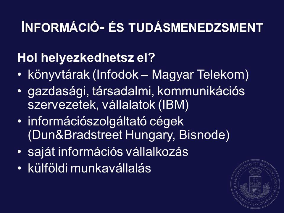 I NFORMÁCIÓ - ÉS TUDÁSMENEDZSMENT Hol helyezkedhetsz el? könyvtárak (Infodok – Magyar Telekom) gazdasági, társadalmi, kommunikációs szervezetek, válla