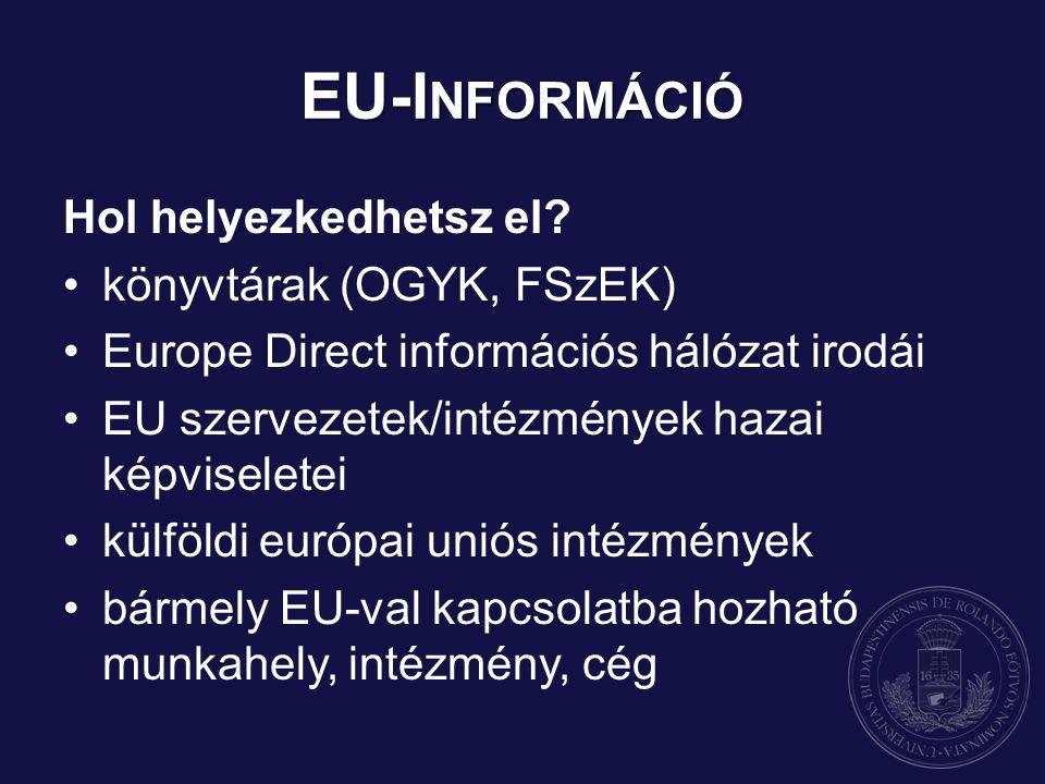 EU-I NFORMÁCIÓ Hol helyezkedhetsz el? könyvtárak (OGYK, FSzEK) Europe Direct információs hálózat irodái EU szervezetek/intézmények hazai képviseletei